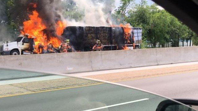 A tractor trailer fire has closed all lanes of EB I-64 in O'Fallon, Illinois. Credit: Kyle Valentine