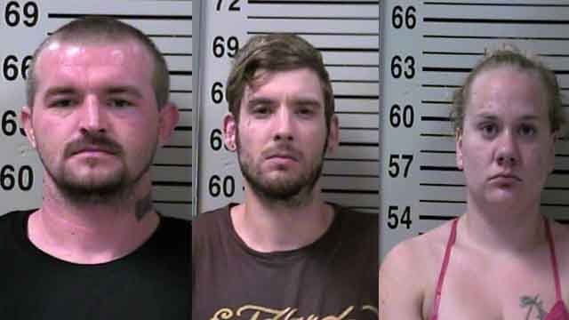 Larry Northcutt, 27, of Godfrey, Brent Jones, 28, of Alton and Natasha Smith, 26, of Bethalto, are all charged with murder in the death of Christopher Gernigin, 29 of Alton. Credit: Alton PD