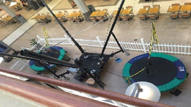 A girl was sent flying after a bungee cord broke while she was on this ride at Mid Rivers Mall (Credit: KMOV).
