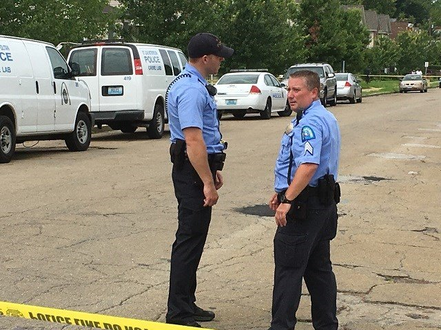 Officers on scene of a double-fatal stabbing in north St. Louis (Brian Feldman, KMOV)