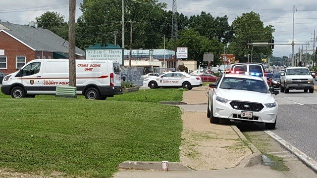Police on scene of a stabbing at a North County funeral home (Brian Howe, KMOV)