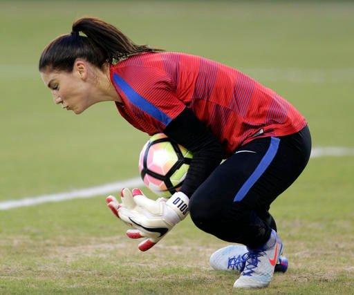 U.S. goalie Hope Solo grabs the ball while warming up for a women's international friendly soccer match against Costa Rica, Friday, July. 22, 2016, in Kansas City, Kan. The United States won 4-0. (AP Photo/Colin E. Braley)
