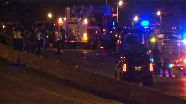 A person was pronounced dead following a crash on westbound I-70 near Salisbury (Credit: KMOV)