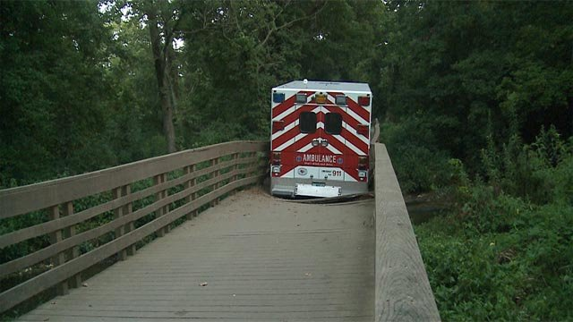 A St. Charles County ambulance was stuck on a bridge overnight (Credit: KMOV)
