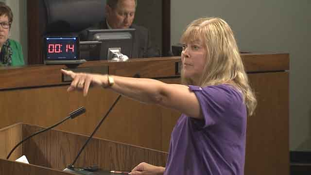 South County Wendy Antalick addresses the St. Louis County Council over a proposed apartment complex near Tesson Ferry and Bauer Road. Credit: KMOV