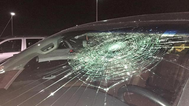 Brandon Thomas damaged his truck's windshield with a grand slam ball (Credit: Gateway Grizzlies Baseball / Facebook)