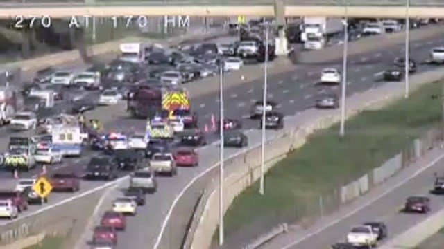 A wreck has closed most lanes of EB I-270 near I-170 Wednesday afternoon. Credit: MoDOT