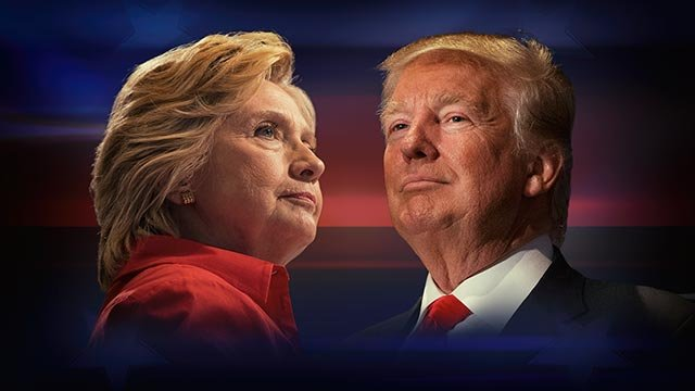 Hillary Clinton, as Democratic presidential nominee and Donald Trump, as Republican presidential nominee (l-r), on texture, partial graphic (Credit: AP Images)