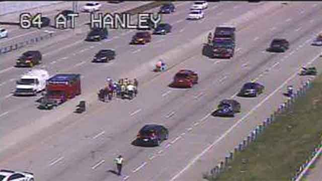 A wreck has closed down three lanes of EB I-64 near Hanley Saturday afternoon. Credit: MoDOT