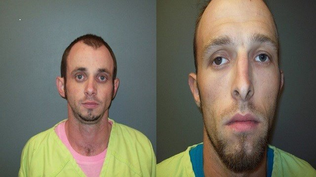 James Randall (J.R.) Sherrell (L) and Dustin Richardson (R) escaped from Pulaski Co. Jail on September 18. Authorities are searching for the inmates (Credit: Pulaski County Sheriff's Department).