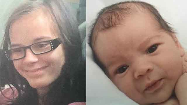 Police are looking for Katherine Derleth, 17 and her infant son Christopher who went missing from Edwardsville Sunday. Credit: Edwardsville PD