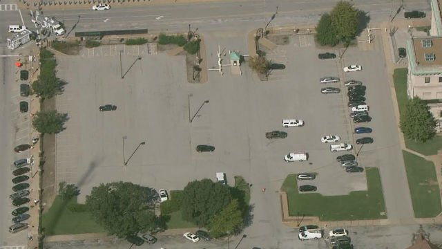 An aerial shot of the parking lot where the suspicious package is said to be located. (KMOV)