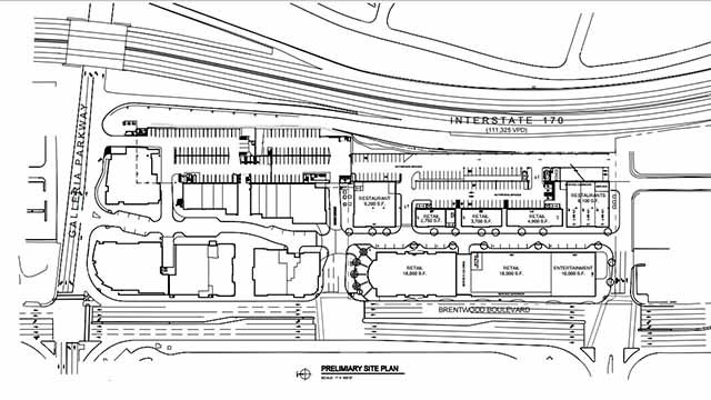 Here is a map showing how long the new shopping center will be. Credit: City of Richmond Heights