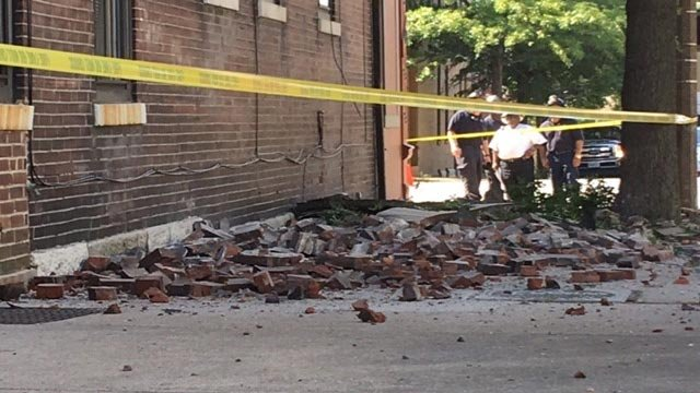 Bricks on the side of a building at Jefferson and Shenandoah (Credit: Justin Andrews / News 4)