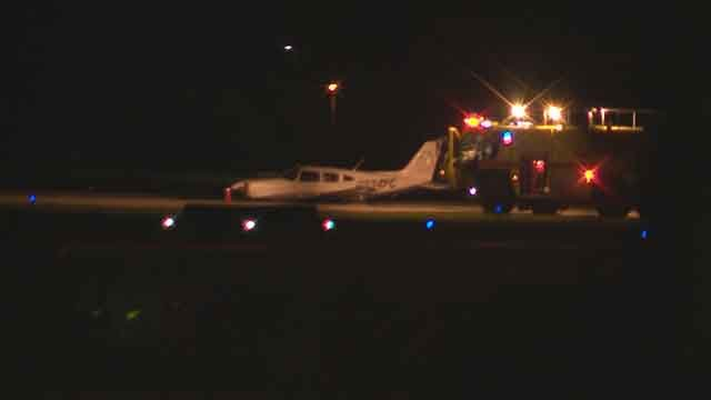 A plane made an emergency landing near the Downtown St. Louis Airport in Cahokia Wednesday night. Credit: KMOV