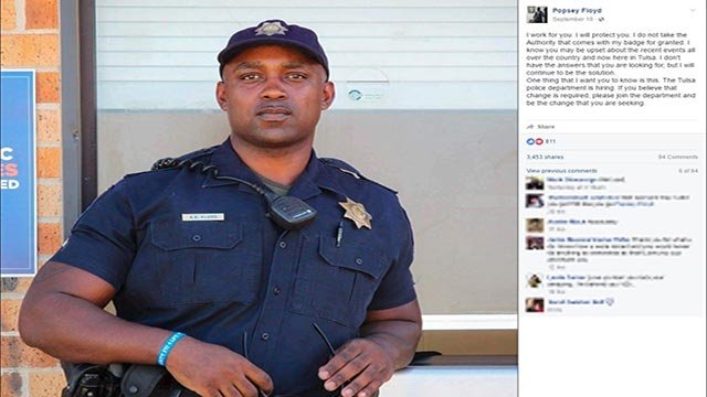 Tulsa police officer Popsey Floyd made an emotional Facebook post after the fatal police shooting in North Carolina and Oklahoma (Credit: Popsey Floyd / Facebook)