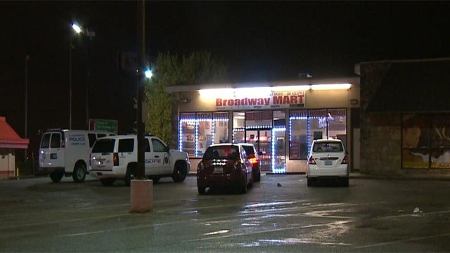 Police vehicles outside of 'Broadway Mart' Sunday night (Credit: KMOV)