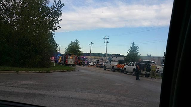 Fire departments on scene of fire at Atro Engineered Systems plant (Credit: Jesse Mayfield)