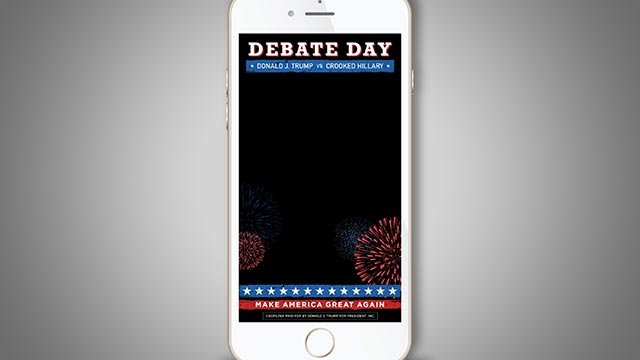 Donald Trump is turning to Snapchat to drum up support from young voters ahead of tonight's presidential debate.The Republican candidate's campaign launched a nationwide filter on the popular social network Monday, on September 26, 2016. Credit: Donald J