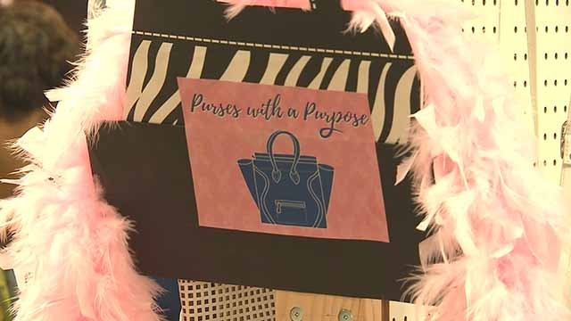 Workers at SSM DePaul Hospital collected gently or unused purses in order to sell them and donate the proceeds to women with breast cancer. Credit: KMOV