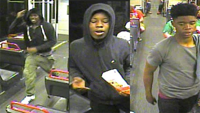 Police release surveillance pictures of suspects wanted for assault at the Delmar MetroLink Platform. (Credit: St. Louis Metropolitan Police Department)