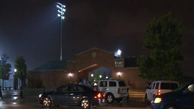 Police on the scene after a woman was shot near St. Louis University High School (Credit: KMOV)