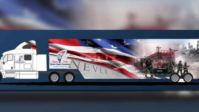 A mobile 9/11 Memorial exhibit makes a stop in St. Louis this week. (Credit: KMOV).