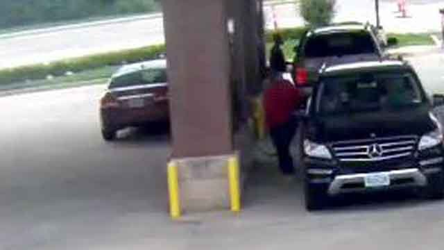 A woman's car was stolen while she was pumping gas at a St. Charles County QT. (Credit: KMOV).