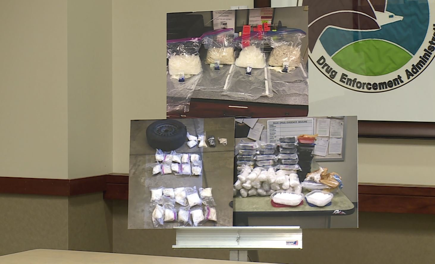 Photos of drugs confiscated during a drug bust that netted 36 arrested (KMOV)