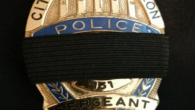 An O'Fallon, Missouri Police Department badge after a St. Louis County officer was shot and killed Thursday (Credit: O'Fallon Missouri Police Department)