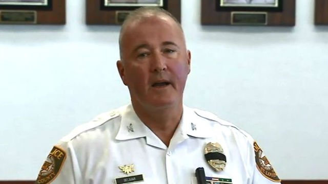 St. Louis County Police Chief John Belmar speaks during a press conference concerning fallen Police Officer Blake Snyder. (KMOV)