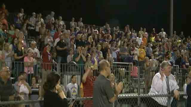 Vigil held at Affton High School on October 6 for fallen police officer Blake Snyder (Credit: KMOV).