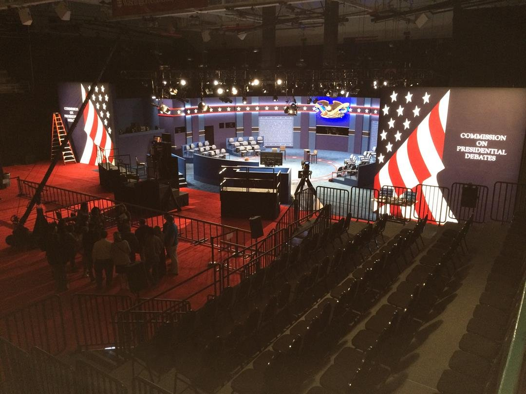 Preparations are complete at Washington University for the presidential debate (Credit: Russell Kinsaul)
