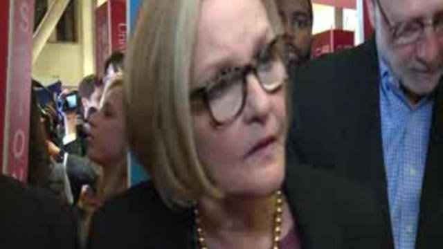 Sen. Claire McCaskill in 'Spin Alley' after the debate at Washington University (Credit; KMOV)