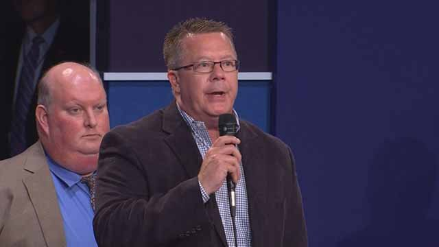 Karl Becker is an internet sensation after asking a tension-breaking question at the end of presidential debate Sunday. Credit: KMOV
