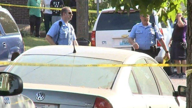 Police on scene of a shooting in south St. Louis Tuesday (KMOV)