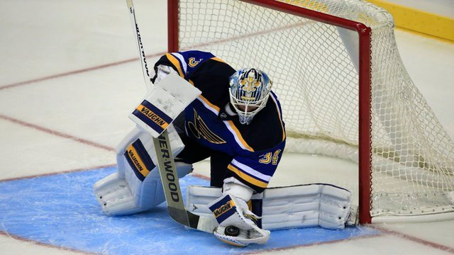 St. Louis Blues goalie Jake Allen during the second period of an NHL preseason hockey game against Washington Capitals in Kansas City, Mo., Wednesday, Oct. 5, 2016.