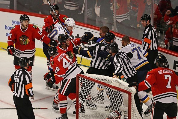 CHICAGO, IL - OCTOBER 12: An altercation breaks out in the third period between the Chicago Blackhawks and the St. Louis Blues during the season opening game at the United Center. (Photo by Jonathan Daniel/Getty Images)