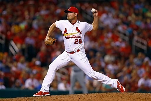 St. Louis Cardinals relief pitcher Zach Duke throws during a baseball game against the New York Mets, Tuesday, Aug. 23, 2016, in St. Louis. The Mets won 7-4. (AP Photo/Billy Hurst)