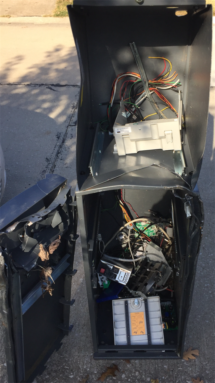 Police found the mangled and empty ATM that had been stolen from Stuckmeyers Farm Market and Greenhouse near Highway 141 and Highway 21, in a dumpster near Eichelberger and Morganford in south St. Louis