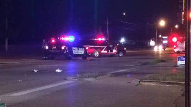 WB lanes of N. Belt West are closed after a pedestrian was hit by a car Monday night. Credit: KMOV