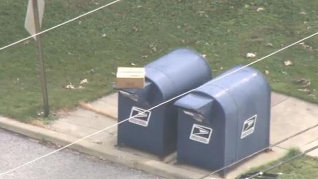 Suspicious package outside Edwardsville Post Office Tuesday (Credit: KMOV)
