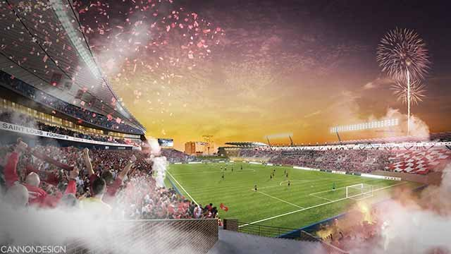 Proposed soccer stadium near St. Louis University. (Credit: The Foundry St. Louis)