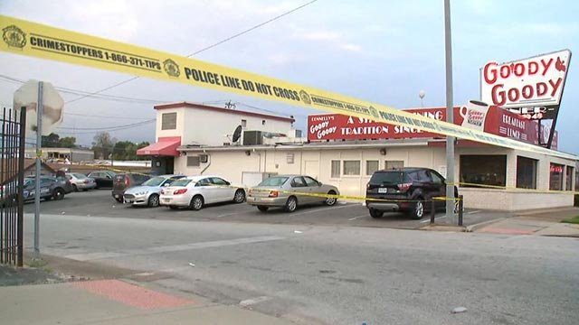 Crime scene tape outside the Goody Goody Diner following a homicide Wednesday (Credit: KMOV)