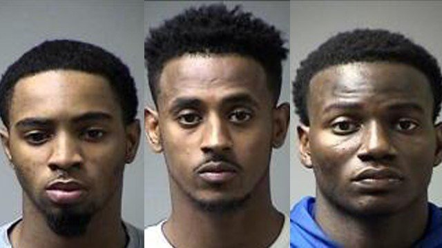 Tylan Birts, Ermias Nega and Bradley Newman Jr are accused of sexually assaulting a woman. Credit: Police