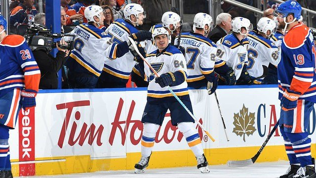 EDMONTON, AB - OCTOBER 20: Nail Yakupov #64 of the St. Louis Blues celebrate after scoring a goal during the game against the Edmonton Oilers on October 20, 2016 at Rogers Place in Edmonton, Alberta, Canada. (Photo by Andy Devlin/NHLI via Getty Images)