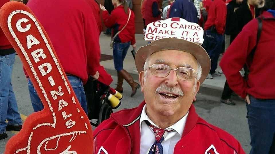 Cardinals superfan Paul Pagano, AKA Father Time, died at age 93 Friday morning. Credit: Pagano family