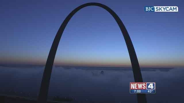 BJC Skycam capured a foggy sunrise above the Arch. (Credit: KMOV).
