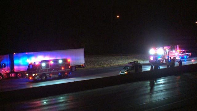 Crews closed the WB lanes of I-70 near the St. Charles Rock Road following a crash Monday (Credit: KMOV)