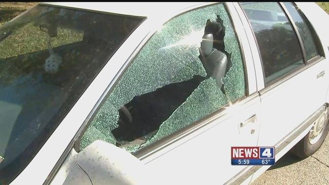 Nearly 40 car windows were recently shot out in Washington, Mo. Credit: KMOV